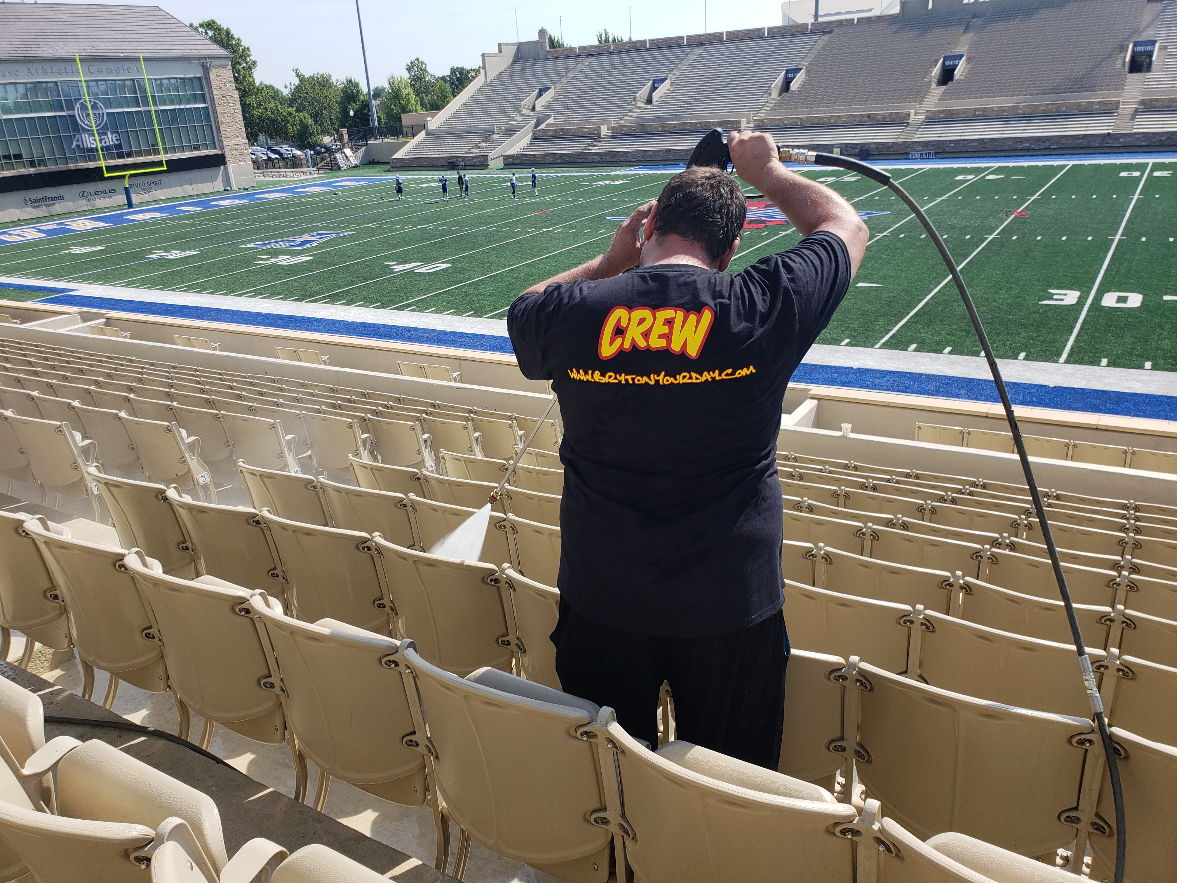 Pressure Washing Football Stadium Tulsa.