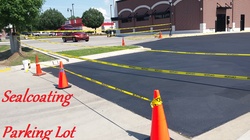 Sealcoating a Parking Lot