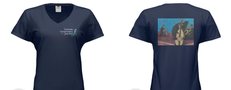 """Women's V Neck Navy """"Jazz Trio""""Shirt"""