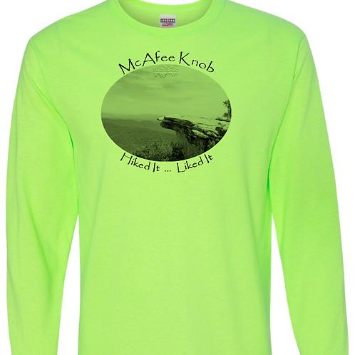 McAfee Knob - Neon Green - LS Tee - 50/50 Poly Cotton