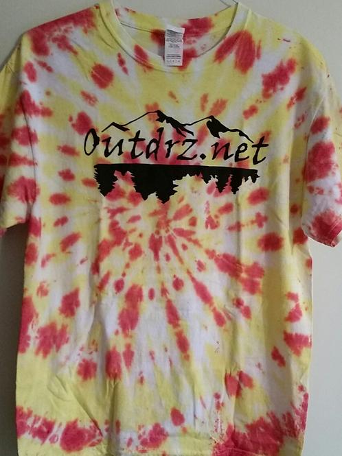 Orange & Yellow Tie Dye on White Outdrz Logo T - 100% Cotton