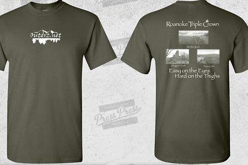 Triple Crown T Shirt - Military Green - 100% Cotton