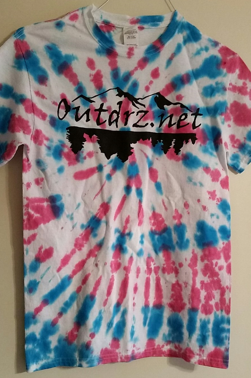 Red & Blue Tie Dye on White Outdrz Logo T - 100% Cotton