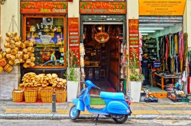 Épicerie grecque traditionnelle, panier et vannerie, produits biologiques