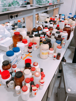 Sorted laboratory chemicals
