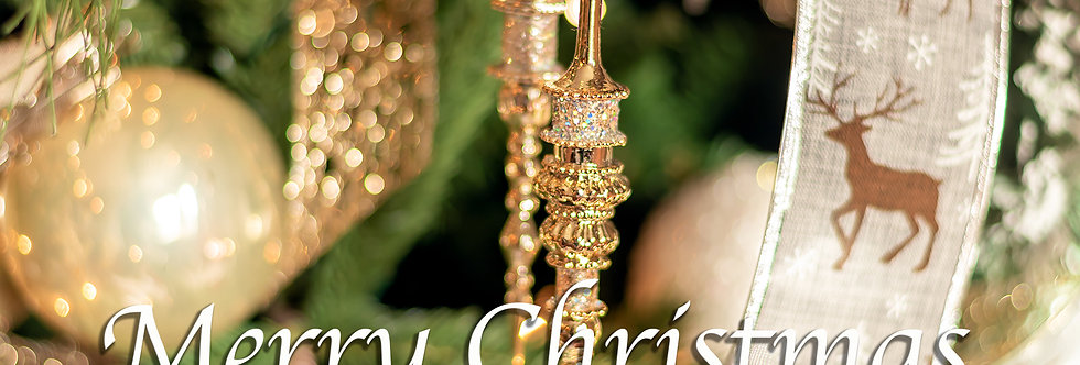 Merry Christmas gold decorations