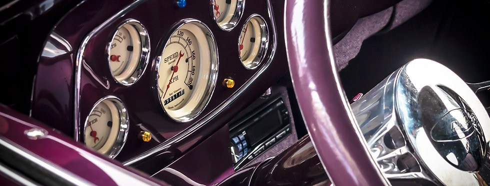 Old gauges on 1930s coupe
