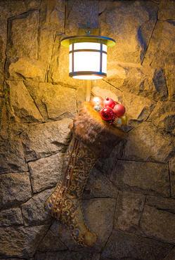 Stocking hanging from lamp.jpg