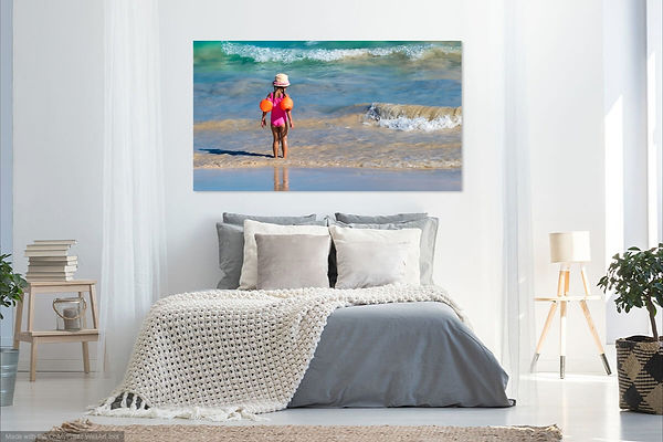 bedroom with print of girl at waters edg