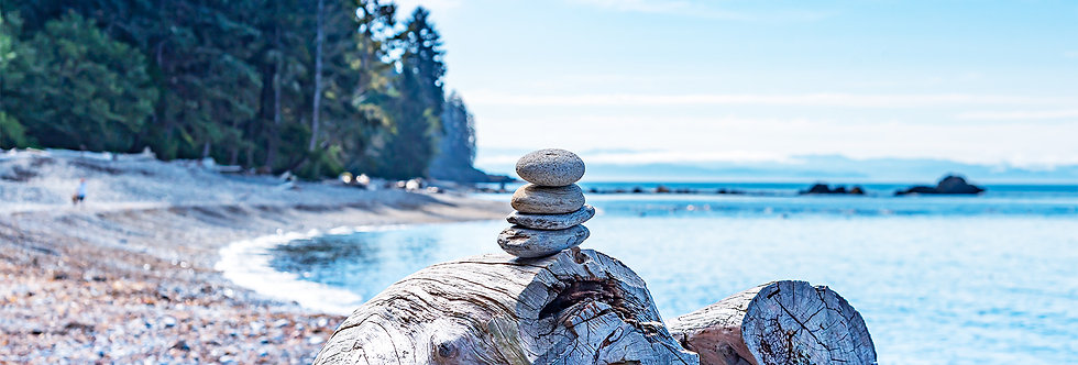 Stacked rocks on beach