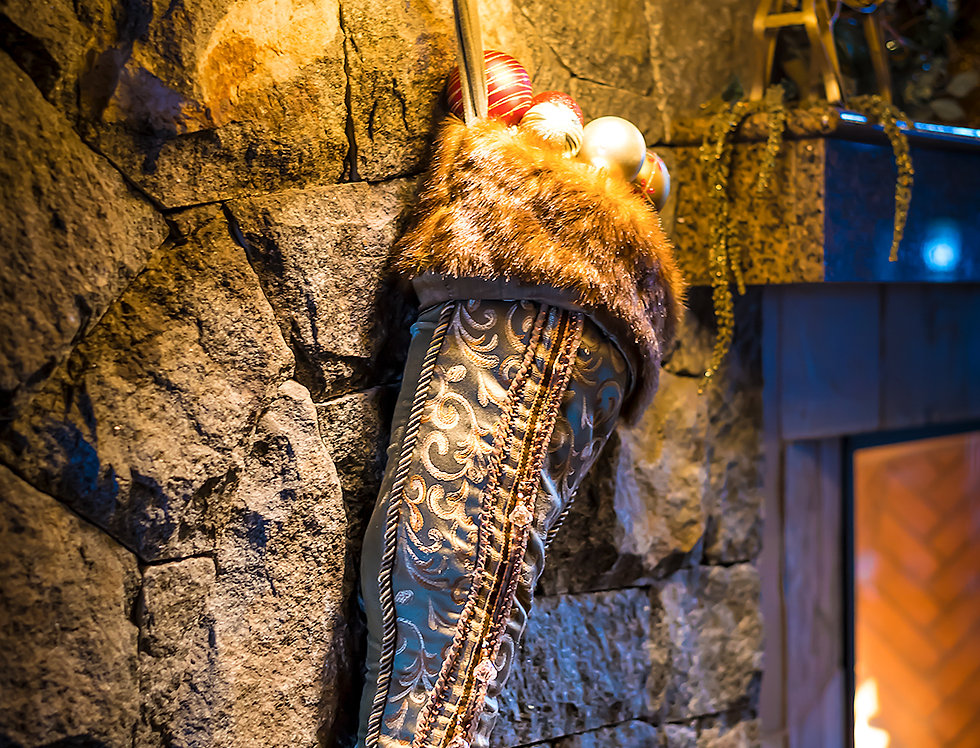 Christmas stocking by the fire