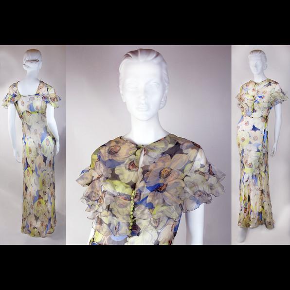 1930s Silk Chiffon Dress