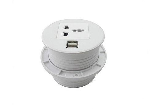 Round desktop power socket
