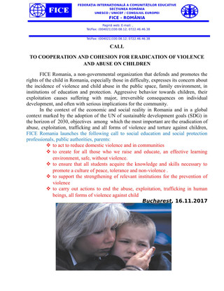 Call to cooperation and cohesion for eradication of violence and abuse towards children