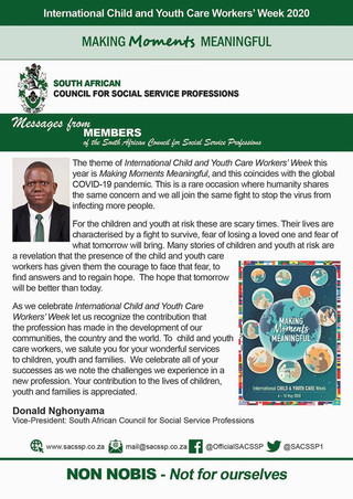 International Child and Youth Care Week - message from Donald Nghonyama