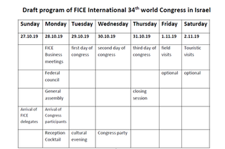 FICE 2019 Congress in Israel - Save the dates 29 October - 1 November