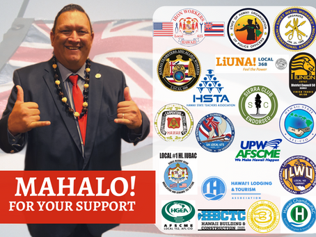 Mahalo for all the Support! I am blessed to be Endorsed by People who believe in me!