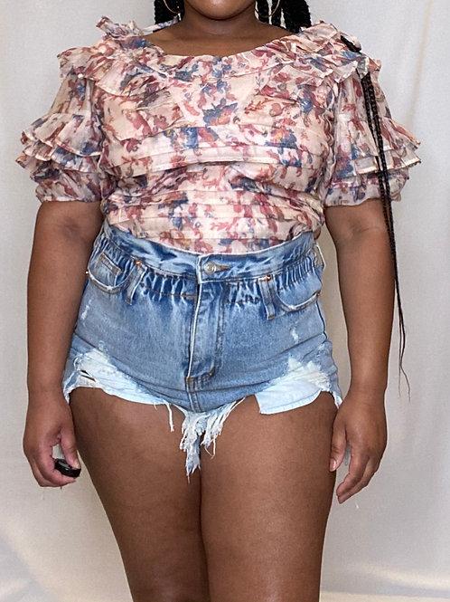 Shorties Distressed Denim   Shorts
