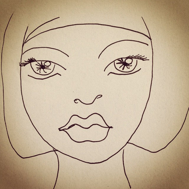 Instagram - #girl #face #pen #artwork #artdecor #artonpaper #intense #stare #bla