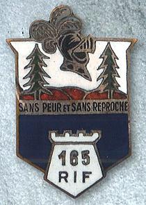 Insigne du 165ème RIF du Four-à-Chaux