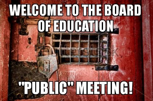 "Meme of a dungeon door with a large lock reading ""Welcome to the Board of Education 'Public' Meeting"""