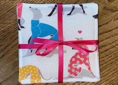 Sighthounds in Pyjamas (White) Coasters
