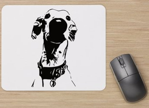 Nosey Sighthound Mouse Mat - White