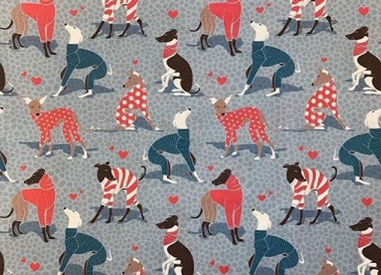 Sighthounds in Pyjamas (Blue) Coasters