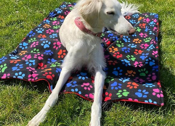 Dog Travel / Picnic Blanket - Paw Print (Black)