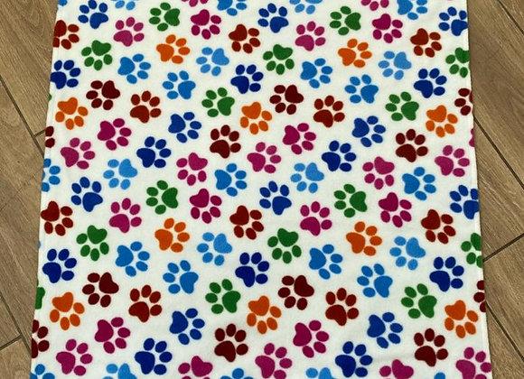 Dog Travel / Picnic Blanket - Paw Print (White)