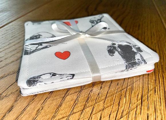 greyhound heart coaster