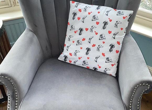 greyhound heart cushion