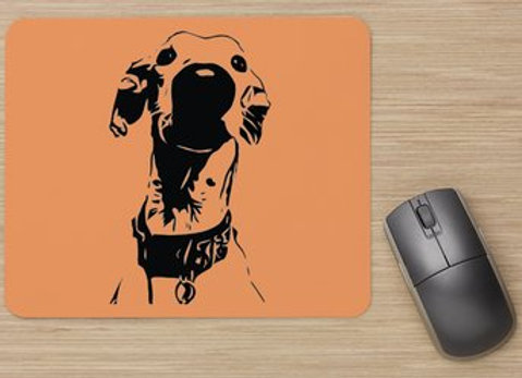 Nosey Sighthound Mouse Mat - Orange