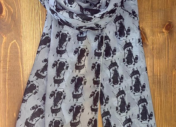 The Nosey Sighthound Scarf - Grey