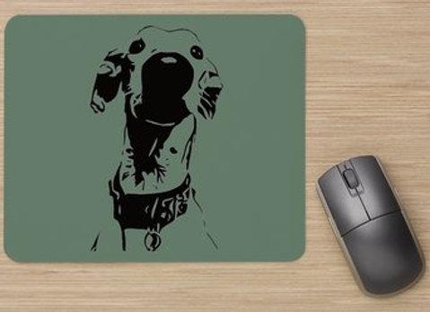 Nosey Sighthound Mouse Mat - Green