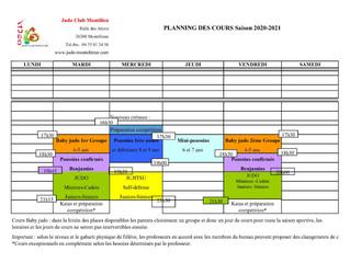 Judo Club Montilien saison 2020/2021          reprise Mardi 8 septembre                         les