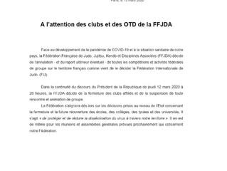 """A partir du lundi 16 Mars 2020 le Judo Club Montilien sera fermé sur décision de la FFJDA """"ferm"""