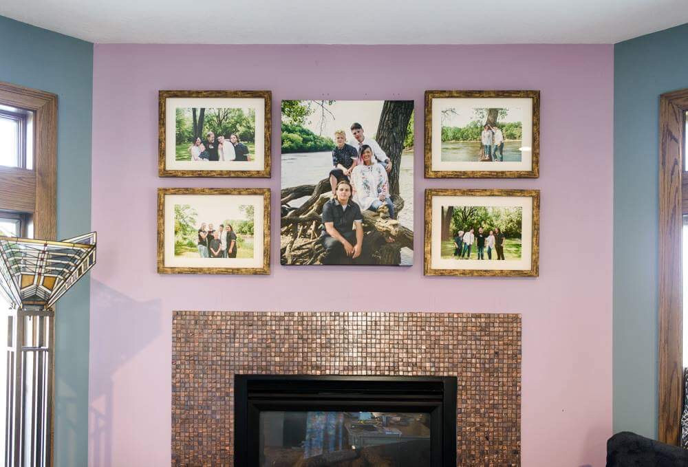 Custom installed wall portrait gallery by Twin Cities Family Photographer | Memory Me Studio