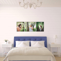 wall display over a bed of three senior portraits taken in St. Paul Minnesota