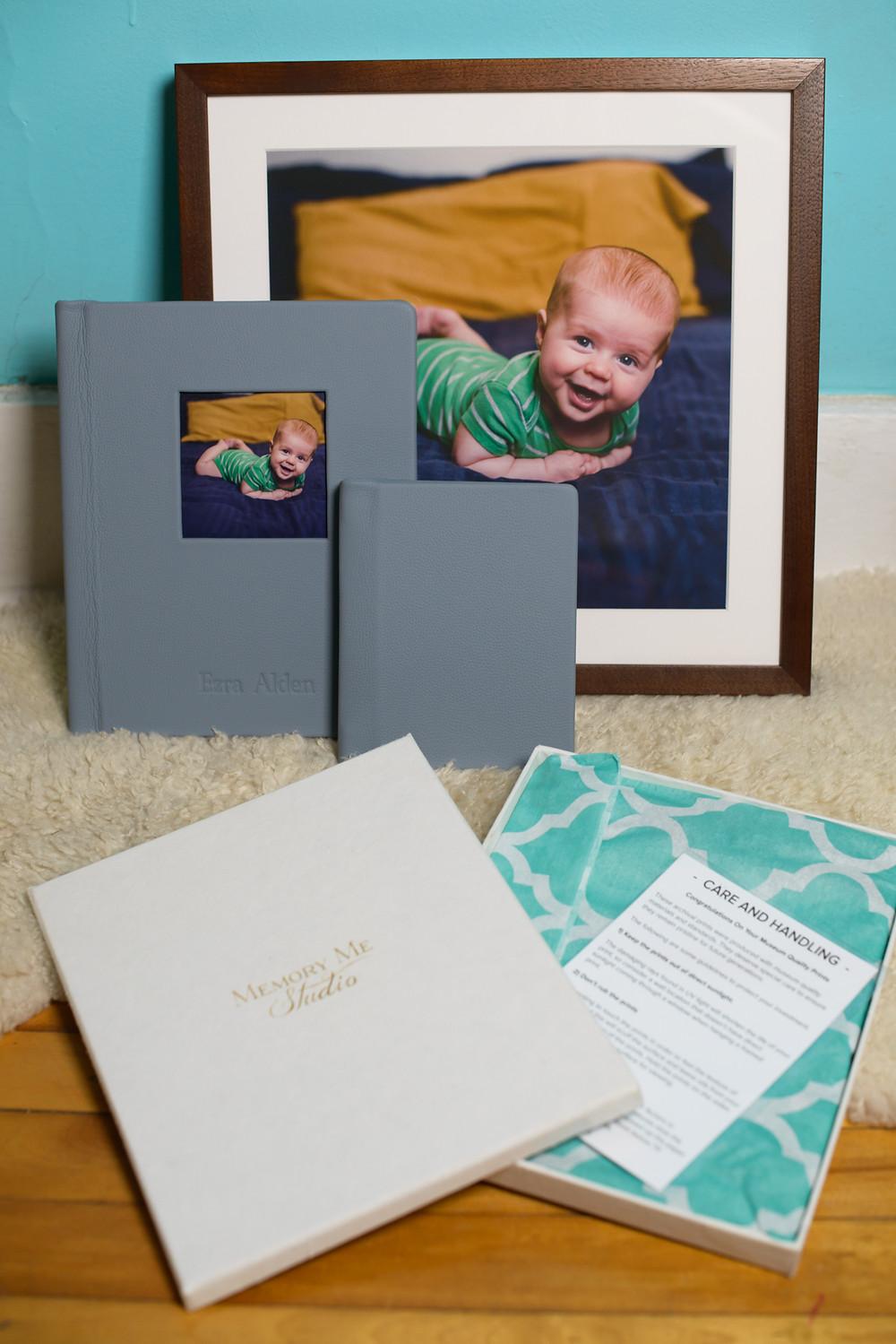 3 month milestone portrait showcased in custom framed print and heirloom album.