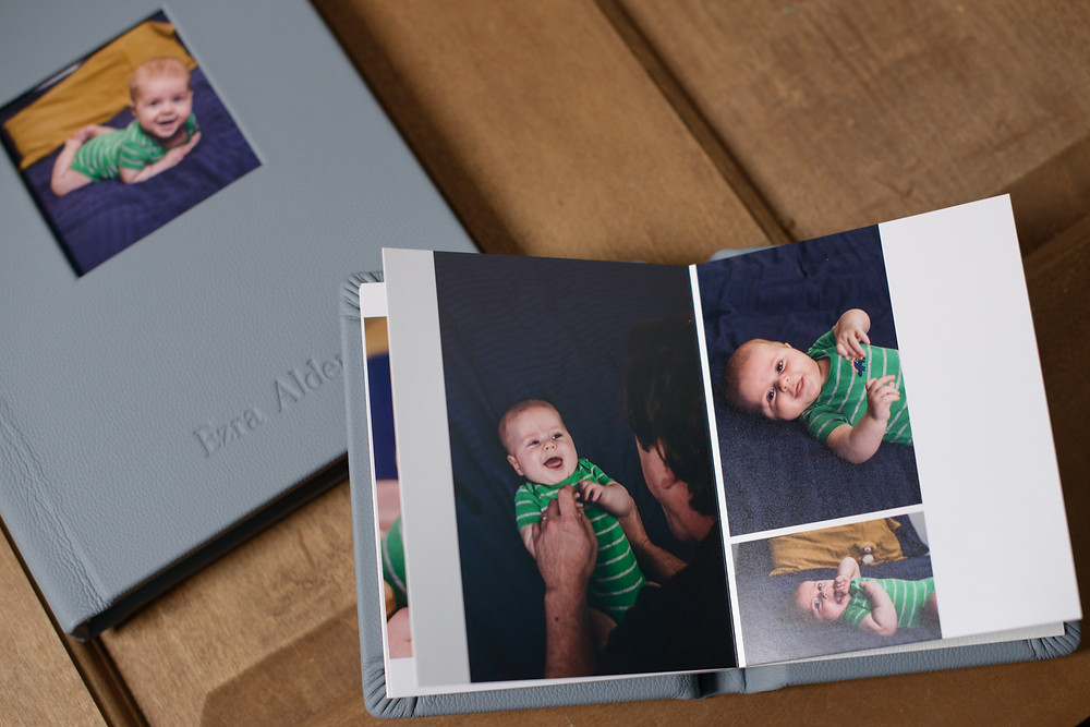 Custom heirloom photography album for 3 month milestone and christening session in st. paul Minnesota