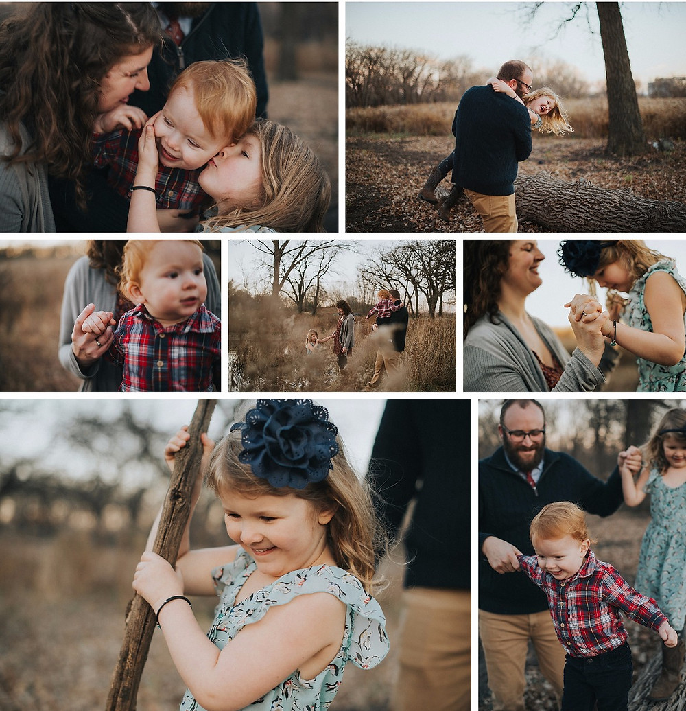 Collage of family portraits taken in minneapolis, MN at Coldwater Springs | Captured by Madelin Zaycheck, Saint Paul Family Photographer