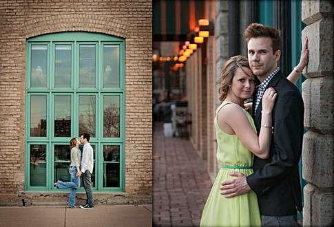 two couple portraits. the same couple wearing jeans and kissing by a large teal window in the left image. In the right image the woman is in a green dress and the man is in a button up and suit coat. engagement portrait, photo taken in minneapolis minnesota