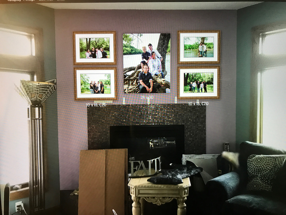 an example of a wall gallery that was put together with a client at their reveal and ordering appointment using a blank photo of their wall in shakopee home