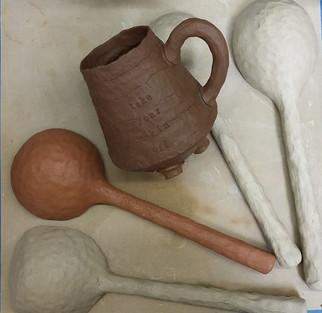 large spoons and dark mug, wetwork, 2017.