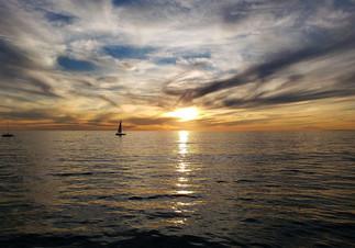 sunset view from the Santa Monica Pier, january 2020, Santa Monica, California.