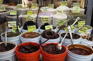 a display of moles, El Mercadito, East Los Angeles, California.