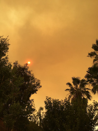 smoky summer skies due to the wildfires that scorched california, 2020.