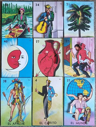 altered lotería cards, 2016-2017.