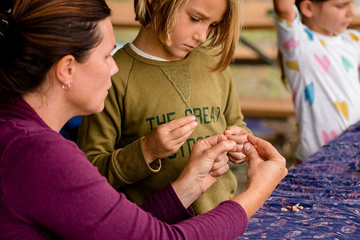 Waldorf teacher and student handwork